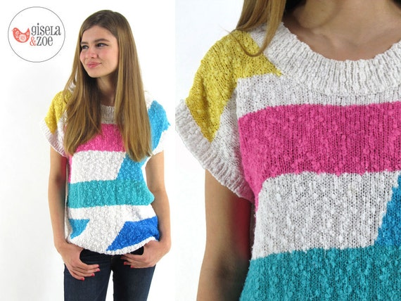 SALE...80s Slouchy Knit Top / Geometric Sweater / Oversized Top / xs / sm / md