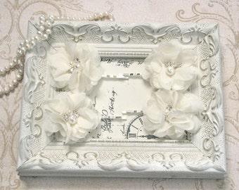 Ivory Chiffon Petite Flower Hair Pins for bride (4pc), Bridal Hair Accessories, Flower Girl, Ivory Wedding Hair Pins, Romantic Wedding