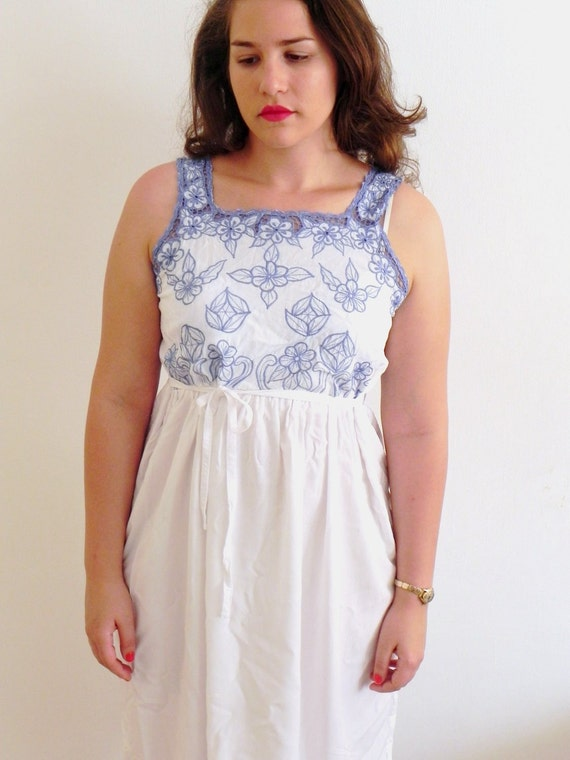 Vintage White Embroidered Mexican Floral Blue Dress - SALE