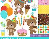 Birthday Bear - Clipart and Digital paper set