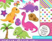 Dinosaur clipart - DINOSAURS FOR GIRLS - Clip Art and Digital Paper Set