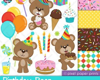 Birthday Bear - Clipart and Digital paper set