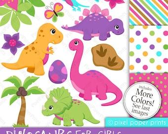 Dinosaur clipart - DINOSAURS FOR GIRLS - Clip Art and Digital Paper Set