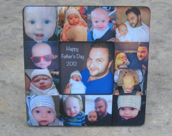 Personalized Father's Day Picture Frame, Unique Baby's First Year Picture Frame, Photo Collage Frame