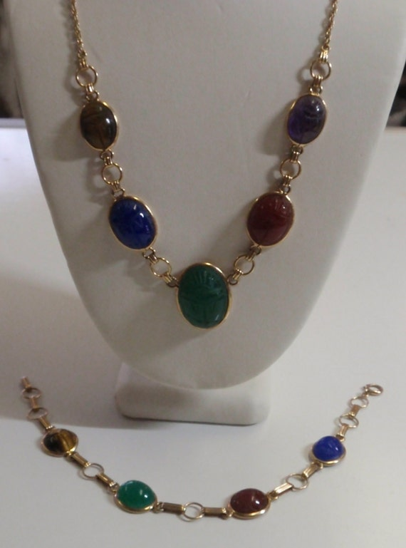 14k Scarab Beetle Necklace and 10K Bracelet set with stones