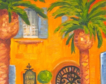 Original oil  painting:  The Mediteranean house with Palm Trees
