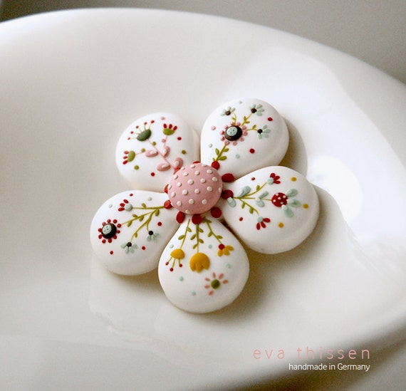 Bloom. Hand made polymer clay brooch in white. Made to order