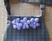 Upcycled grey sling bag with lavender flowers - Clearance sale