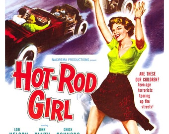 """Hot Rod Girl - Car Racing Movie Poster Print - 13""""x19"""" - Home Theater Decor - Vintage Movie Poster - 50s kitsch - b movie"""