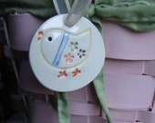 Easter Spring Chick Ornament Fun and Colorful on White Hand Stamped and Cut