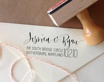 Return Address Stamp Custom Calligraphy - Handwritten Modern Calligraphy Address - Wood or Self Ink Wedding - Rebel Stout Style large zip