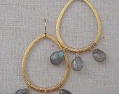 Gold Teardrop Labradorite Dangle