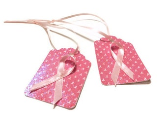 CLEARANCE - Breast cancer awareness tags - set of 15 (TCP248)