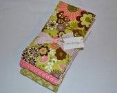 Baby Girl Boutique Burp Cloths - Girl Burp Cloth Set - Pink and Green - Sweet Treasure