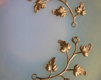 Leaf Vine Connector Brass