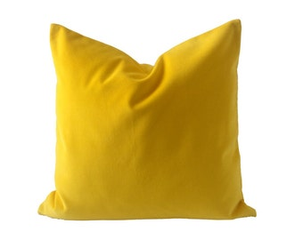 16x16 Bright Yellow Decorative Throw Pillow Cover - Medium Weight Cotton Velvet - Invisible Zipper Closure - Knife Or Piping Edge