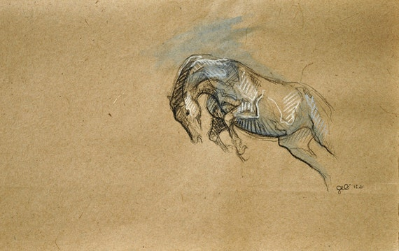 """RESERVED ITEM to Sophie - OOAK Horse Drawing """"Equilibre 9"""""""