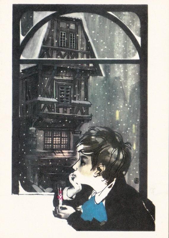 "Postcard Illustration -- Hans Christian Andersen ""The Old House"" - 1972"