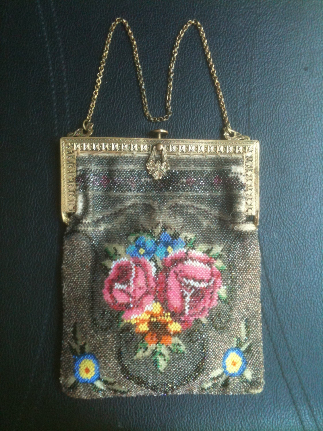 antique beaded purse chain handle roses by decadesofdecor