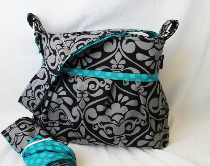 Stella Diaper Bag Set Medium with Changing Pad Gray Damask with Teal Dot - 6 pockets Adjustable Strap - Custom Made to Order