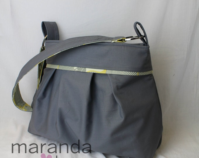 Stella Diaper Bag-Large Messenger Bag-Gray with Optic Blossom Grey Yellow- with Elastic Pockets Adjustable Comfort Strap Stroller Attachment