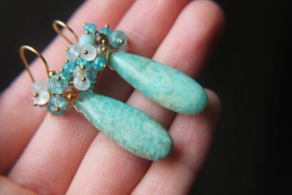 ON HOLD. Turquoise Drop Earrings. Cluster Earrings. Handmade Jewelry. Amazonite Earrings. Large Statement Earrings. Bright Summer Jewelry.