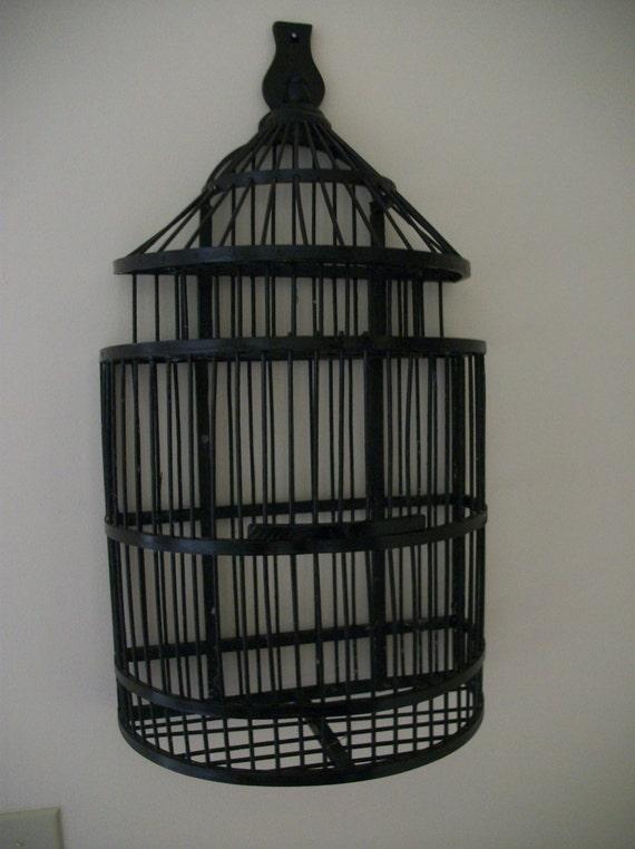Black Bird Cage Half Cage Wall Mount Cage Decorative Bird