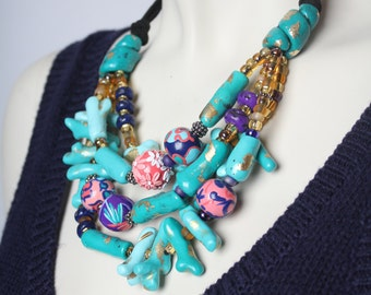 Turquoise Coral Necklace / Chunky Statement Coral Necklace