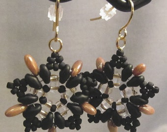 Black & Gold Starburst Handwoven Earrings