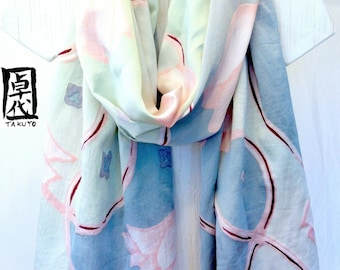 Hand painted Silk Scarf Shawl, Japanese Scarf, Kimono Silk Scarf, Pastel Pink Tulip Scarf, Ice Green, Gray, Silk Charmeuse Scarf, 22x90 inch