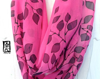 Silk Infinity Scarf. Hand Painted Pink Silk Scarf. Black Vine Japanese Scarf. Pink Floral Scarf. Silk Chiffon Scarf. 14x70 inches loop.