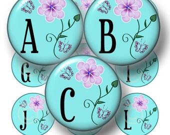 Alphabet, Digital Collage Art Sheet, Bottle Cap Images, Blue Floral, 1 Inch Circles, Instant Download, Printable Collage Sheet