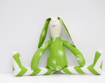 Stuffed bunny rabbit hare green - plush rabbit bunny doll softie stuffed toy Easter bunny birthday gift for boy and girl
