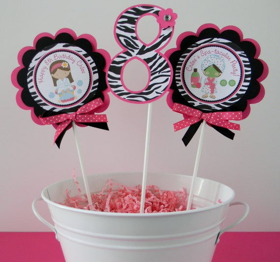 Spa girls hot pink zebra birthday party centerpiece sticks