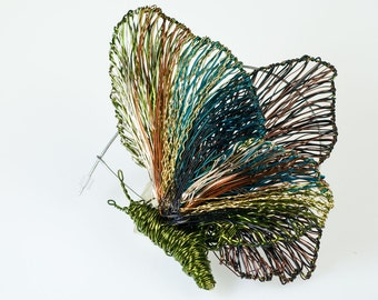 Art jewelry Butterfly brooch Handmade art Wire butterflies Unique brooch Unusual Jewelry Contemporary Sculptural jewelry  Wire Sculpture