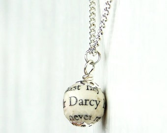 Mr Darcy Pride and Prejudice book page bead necklace, silver plated chain