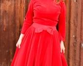 vintage party dress, red velvet, gored skirt ,1950's style, from Diz Has Neat Stuff