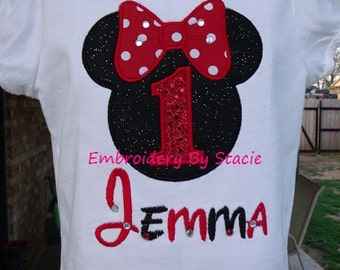"""Custom """"Mouse Ears Birthday w/ Child's Name"""" Embroidered / Appliqued Children's T-Shirt"""