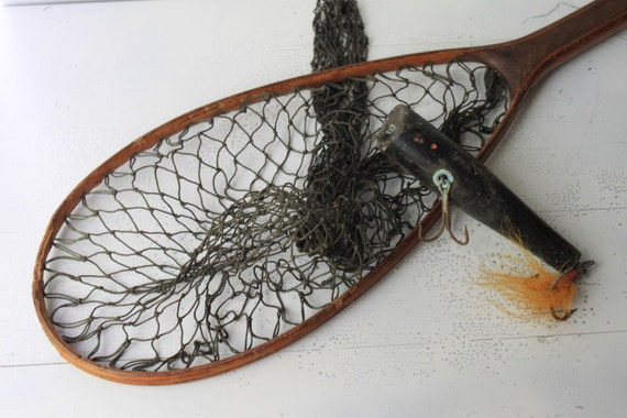 Vintage wooden handle fishing net and wooden lure for Wooden fishing net