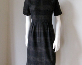 Vintage 1950s 1960S Wool Plaid Schoolgirl Dress Bust 36
