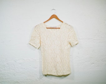Vintage 90s Womens Cream LACE Short Sleeve Blouse