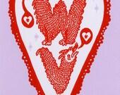 West Virginia Valentine Postcard (screenprint) 2 pack