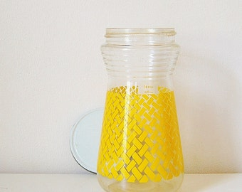 Yellow Storage Jar Vintage Container With Lid