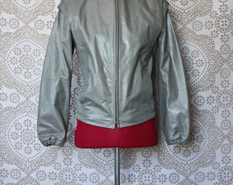 Vintage 1980's Gray Cropped Leather Jacket with Side Zip Size 5/6