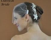 "Bandeau 72 -- Veil Set w/ SILVER  RHINESTONE FLOWER Hair Comb & Ivory or White 9"" Birdcage Blusher Veil for wedding bridal accessory"