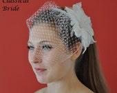 "Mini 904 -- VEIL SET w/ ""HIBISCUS"" Flower Feather Fascinator Hair Clip & Ivory or White Birdcage Blusher 6"" Veil for bridal wedding"