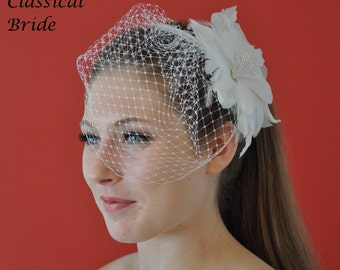 "Mini 904 -- VEIL SET w/ ""HIBISCUS"" Flower Feather Fascinator Hair Clip & Ivory or White Birdcage Blusher 6"" Veil for bridal wedding"