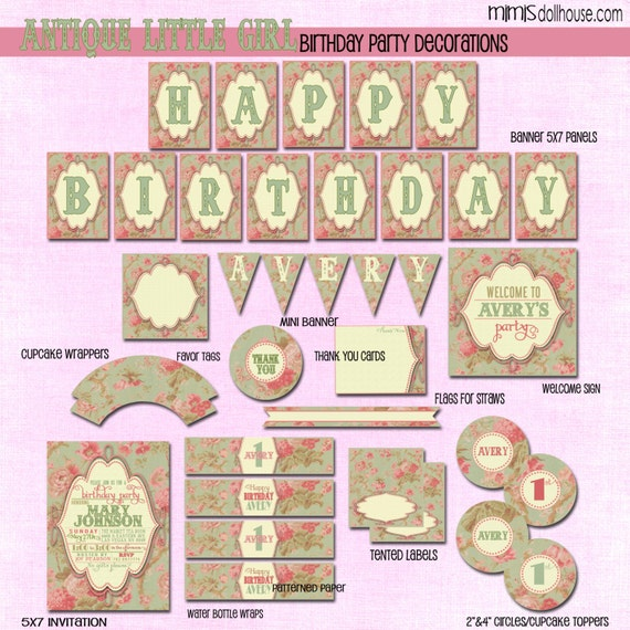 Vintage Party Decorations- Printable Vintage Birthday Party ...