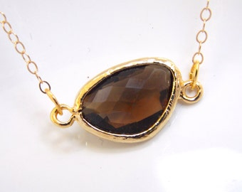 Smoky Quartz Necklace, Brown Necklace, Gold Filled Necklace, Gold Necklace, Bridesmaid Jewelry, Bridesmaid Necklace, Bridesmaid Gifts