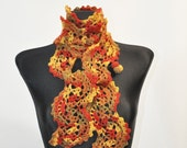 Brown and Orange Scarf, Patchwork Scarf, Crochet Scarf, Lace Scarf, Neck Warmer, Crochet Lace Scarf, Cinnamon Scarf, Autumn Colors
